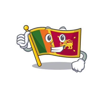 Flag sri lanka cartoon with in thumbs up character. Vector illustration Reklamní fotografie - 133897113