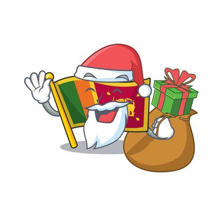 Santa bring gift character on the cartoon flag sri lanka . Vector illustration Illusztráció