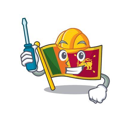 Automotive character on the cartoon flag sri lanka . Vector illustration Ilustração