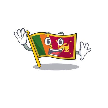 Flag sri lanka cartoon with in waving character. Vector illustration