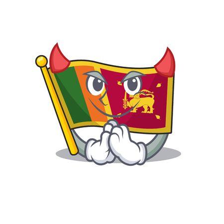 Cartoon flag sri lanka isolated in character devil. Vector illustration Illusztráció