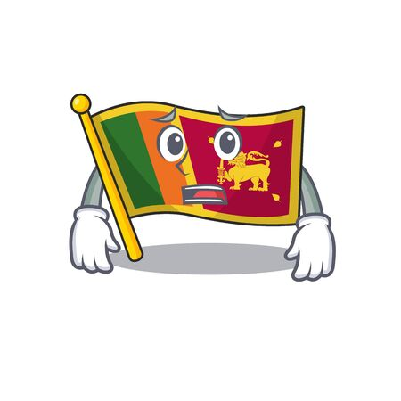 Cartoon flag sri lanka isolated in character afraid. Vector illustration