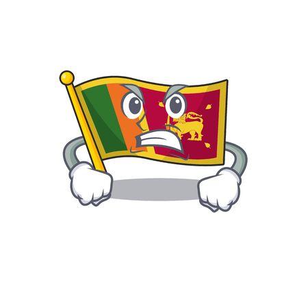 Cartoon flag sri lanka isolated in character angry. Vector illustration