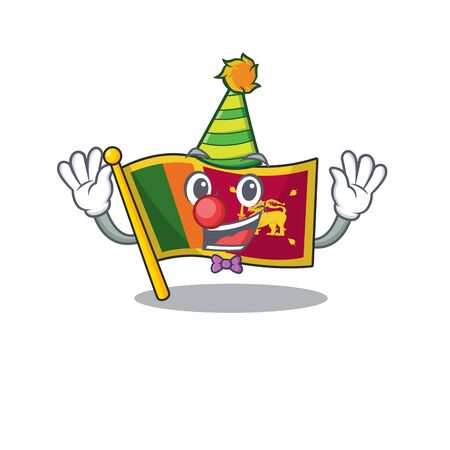 Clown character on the cartoon flag sri lanka . Vector illustration