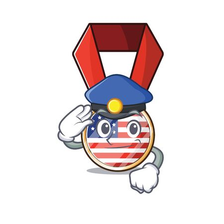Cartoon usa medal with in police character .Vector illustration