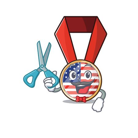 Cartoon usa medal with in barber character .Vector illustration