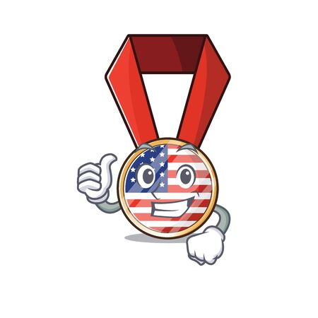 Mascot usa medal in the character thumbs up .Vector illustration