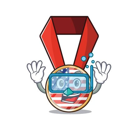 Mascot usa medal in the character diving .Vector illustration