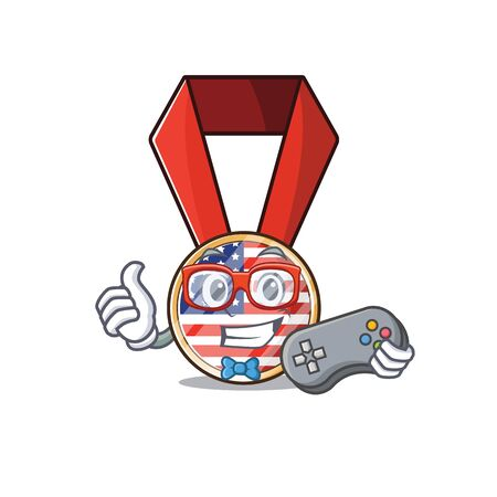 Character usa medal isolated on the holding gamer . Vector illustration