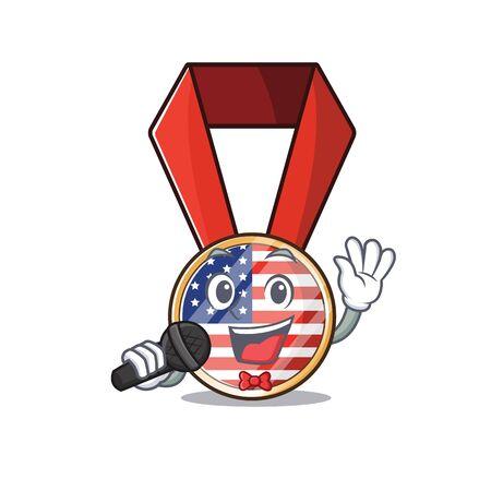Character usa medal isolated on the singing . Vector illustration