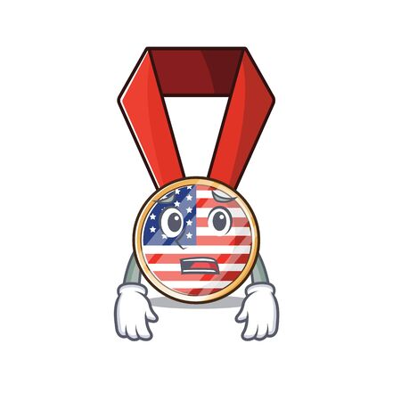 Character usa medal isolated on the afraid . Vector illustration Ilustração