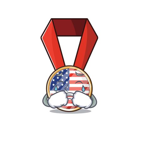 Character usa medal isolated on the crying . Vector illustration