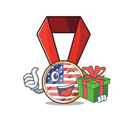 Character usa medal isolated on the holding gift . Vector illustration