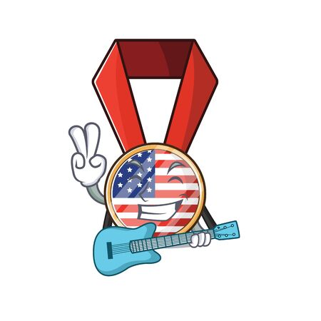Character usa medal isolated on the with guitar . Vector illustration
