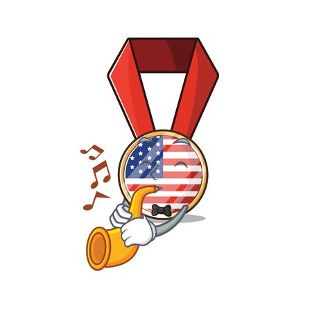 Character usa medal isolated on the with trumpet . Vector illustration