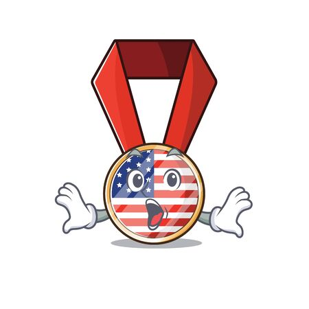 Character usa medal isolated on the surprised . Vector illustration