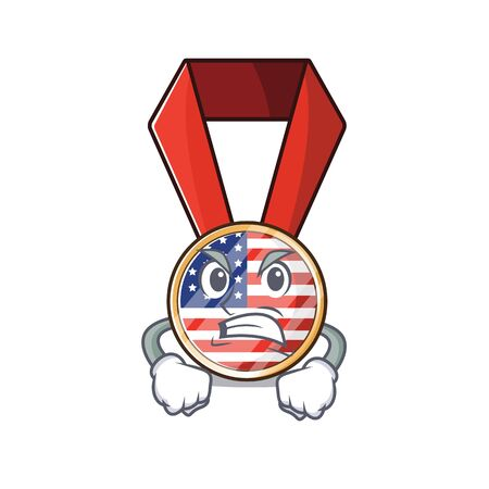 Character usa medal isolated on the angry . Vector illustration