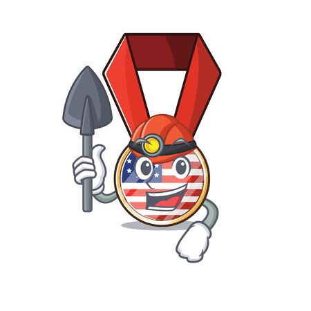 Character usa medal isolated on the miner . Vector illustration