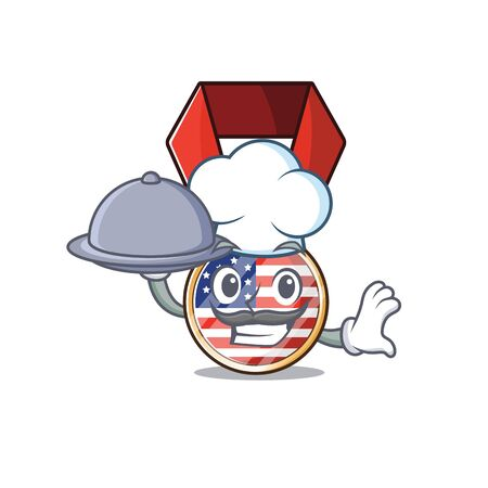 Character usa medal isolated on the chef holding food . Vector illustration