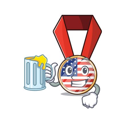 Character usa medal isolated on the holding juice . Vector illustration Illusztráció