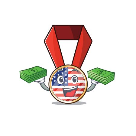 Character usa medal isolated on the holding money . Vector illustration Ilustrace