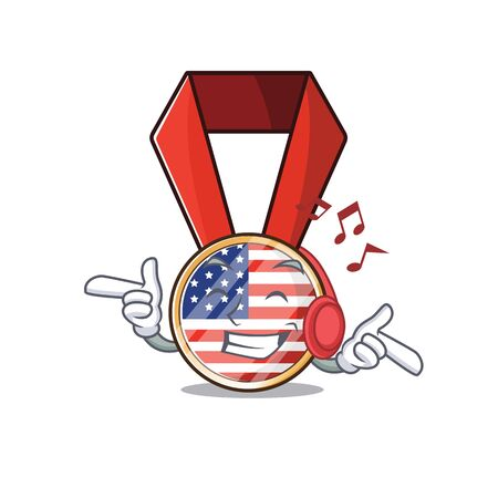 Character usa medal isolated on the listening music . Vector illustration