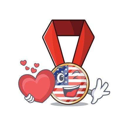 Character usa medal isolated on the holding heart