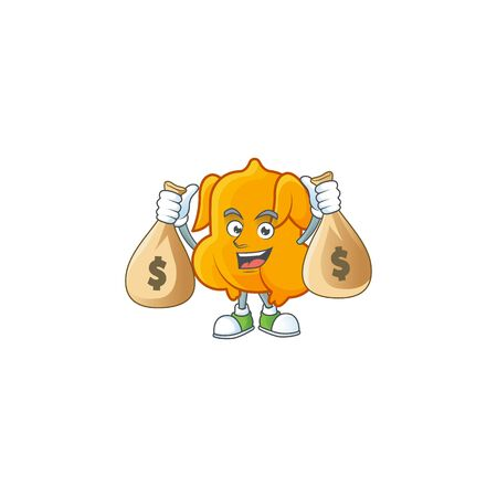 Delicious fried chicken with mascot a holding money bag vector illustration