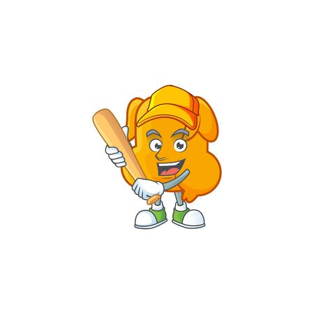Delicious fried chicken with mascot a playing baseball vector illustration Ilustração