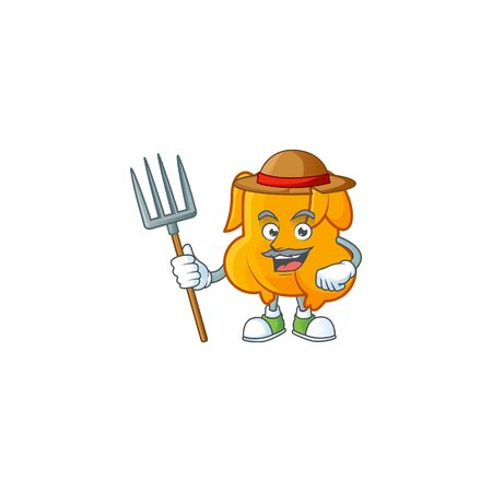 Delicious fried chicken with mascot a farmer vector illustration Çizim