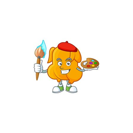 Delicious fried chicken with mascot a painter vector illustration Çizim