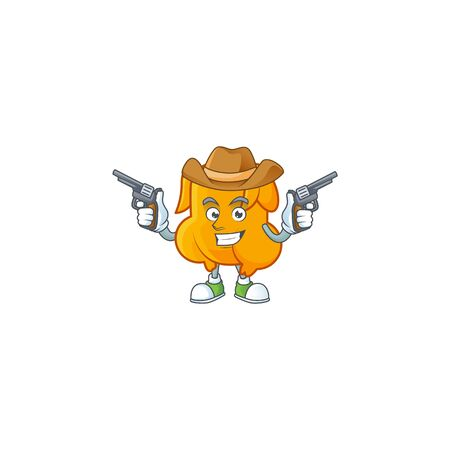 Delicious fried chicken with mascot a cowboy vector illustration Çizim
