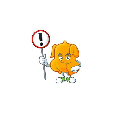 Delicious fried chicken with mascot a with sign warning vector illustration
