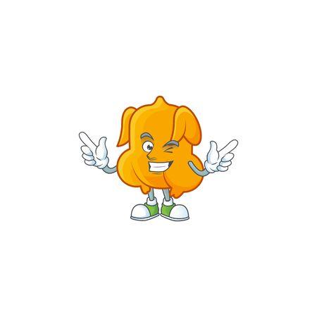 Cartoon character fried chicken with mascot wink vector illustration Illusztráció