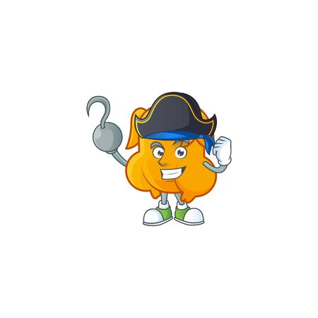 Delicious fried chicken with mascot a pirate vector illustration