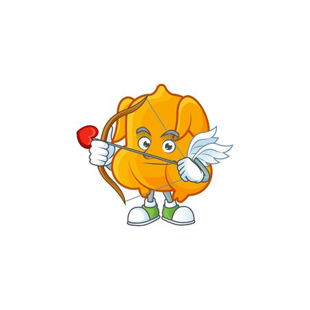 Delicious fried chicken with mascot a cupid vector illustration Çizim