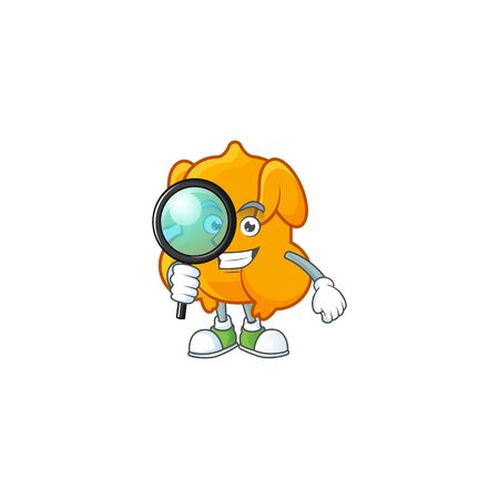 Cartoon character fried chicken with mascot detective vector illustration