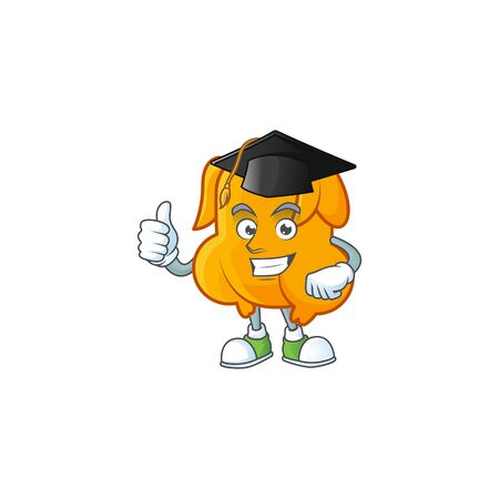 Cartoon character fried chicken with mascot graduation hat vector illustration