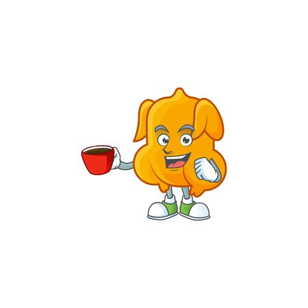 Cartoon character fried chicken with mascot drinking in cup vector illustration Illusztráció