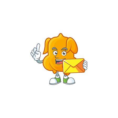Cartoon character fried chicken with mascot bring envelope vector illustration Illusztráció