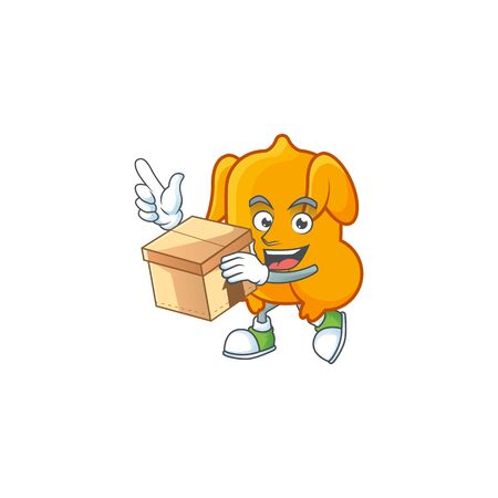 Cartoon character fried chicken with mascot with bring box vector illustration