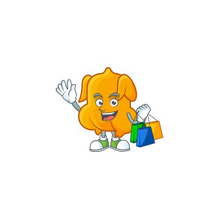 Cartoon character fried chicken with mascot shopping vector illustration