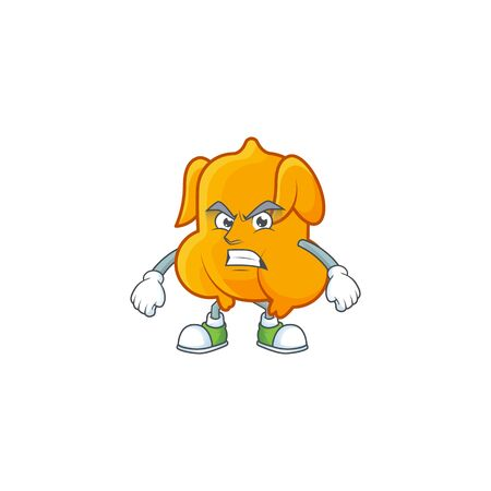 Cartoon character fried chicken with mascot annoyed vector illustration