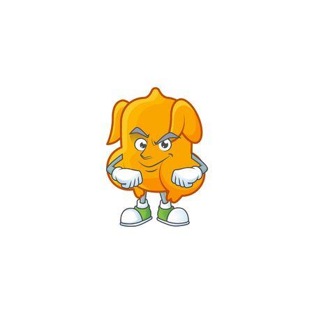 Cartoon character fried chicken with mascot smirking vector illustration Illusztráció