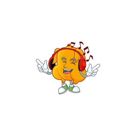 Fried chicken cartoon with the character listening music vector illustration