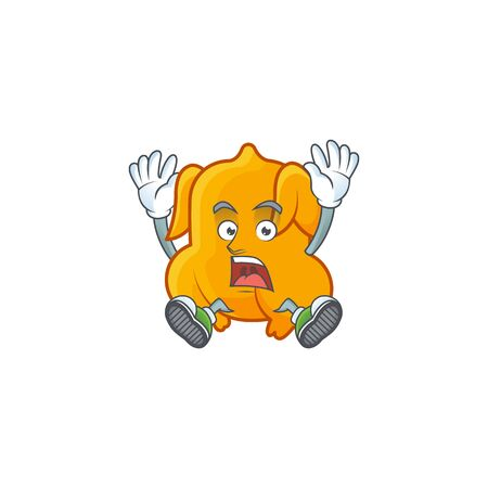 Cartoon character fried chicken with mascot scream vector illustration