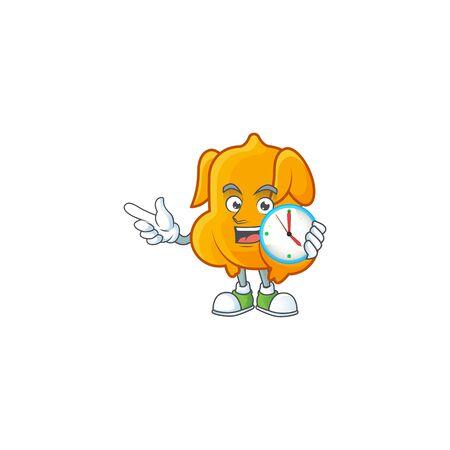 Cartoon character fried chicken with mascot with bring clock vector illustration Illusztráció