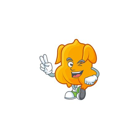 Cartoon character fried chicken with mascot two finger vector illustration