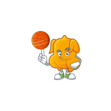 Delicious fried chicken with mascot a holding basketball vector illustration Ilustração
