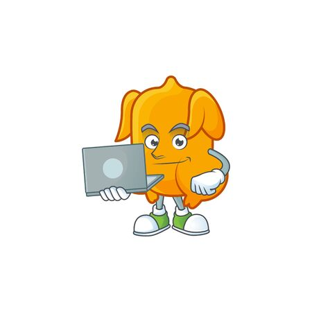 Delicious fried chicken with mascot a with bring laptop vector illustration Çizim